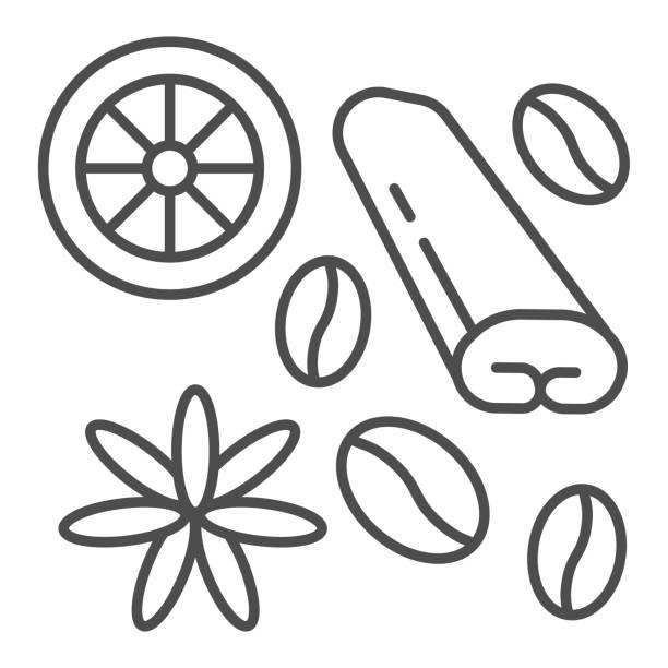 ilustraciones, imágenes clip art, dibujos animados e iconos de stock de especias para el icono de la línea delgada de café y té, concepto de tiempo de café, especias y signo de condimento sobre fondo blanco, granos de café, anís, canela e icono de limón en estilo de esquema. gráficos vectoriales. - clavo especia