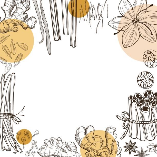 ilustraciones, imágenes clip art, dibujos animados e iconos de stock de especias para el postre, y hornear. - clavo especia