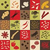 Spices hand drawn vector squared icon big set. Popular cooking spices chili pepper, cinnamon, cloves, cumin, dill, garlic, mustard, paprika, Poppy, star anise, vanilla, black pepper. square design