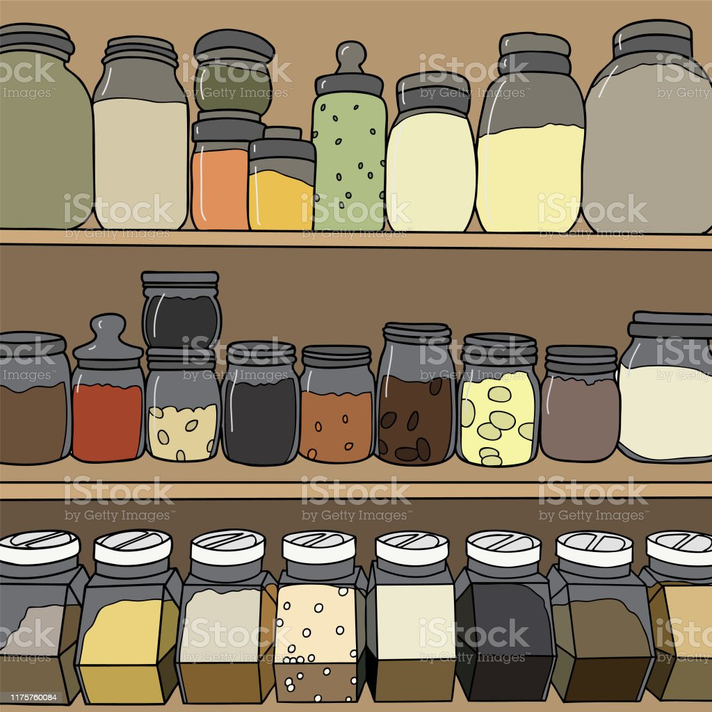 Spices on shelf - Royalty-free Bottle stock vector