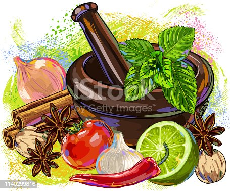 Drawing of Spices,vegetables and Mortar. Elements are grouped.contains eps10 and high resolution jpeg.