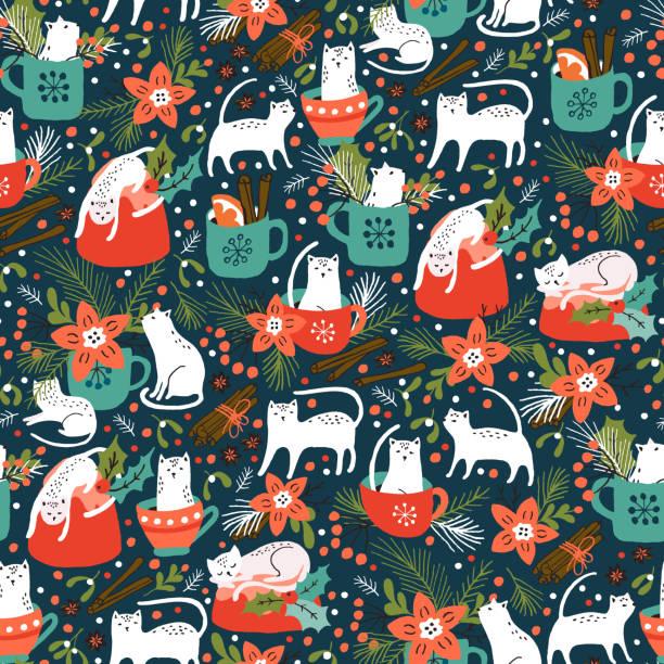 würzige kätzchen - weihnachtsschokolade stock-grafiken, -clipart, -cartoons und -symbole