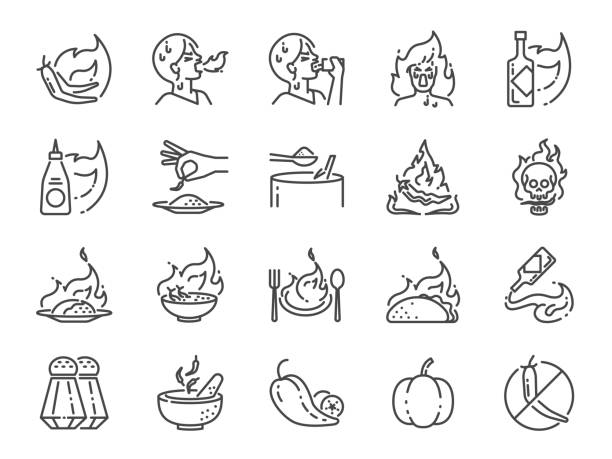 spicy line icon set. included the icons as tom yum kung, chili, ghost pepper, seasoning, flavor, hot and more. - thai food stock illustrations, clip art, cartoons, & icons