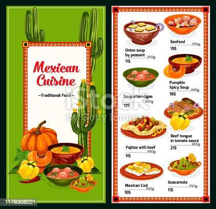 istock Spicy Mexican cuisine menu, vector 1176308221