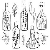 Hand drawn spicy oils with herbs and spices in different bottles.  Vector sketch  illustration.