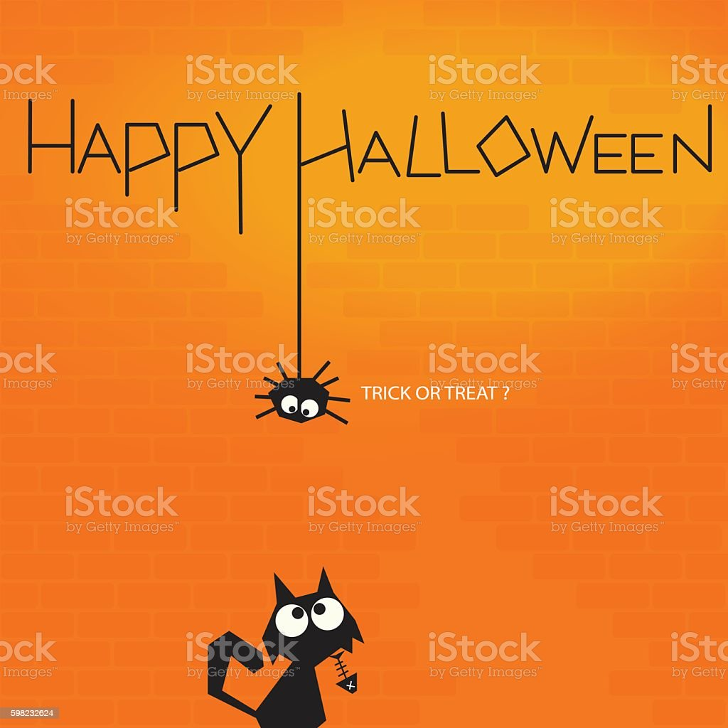 Spider and cat looking at each other halloween background ilustração de spider and cat looking at each other halloween background e mais banco de imagens de animal royalty-free
