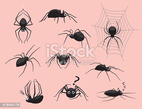 istock Spider Black Poses Cute Cartoon Vector Illustration 918464178