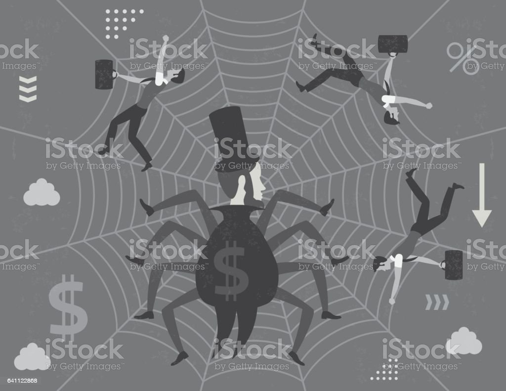 Spider capitalist and workers trapped on web vector art illustration