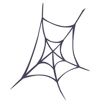 Spider cobweb. Spiderweb border circle. Halloween Decor. Vector illustration of spider web on light background.
