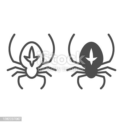 istock Spider line and solid icon, halloween concept, arthropod animal that weaves web sign on white background, spider with marking icon in outline style for mobile concept and web design. Vector graphics. 1282237067