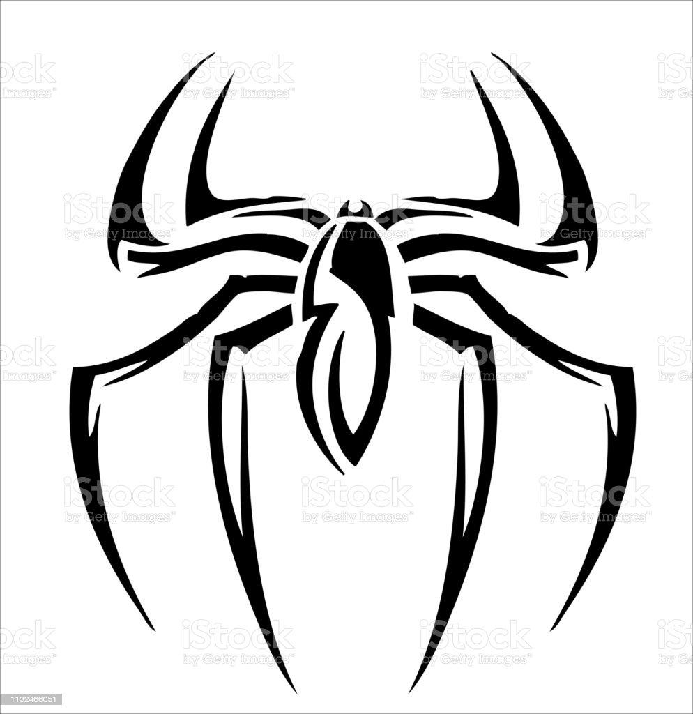 spider logoinspired tribal tattoo design stock vektor art und mehr bilder  von abstrakt - istock  istock