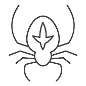 Spider thin line icon, halloween concept, arthropod animal that weaves web sign on white background, spider with marking icon in outline style for mobile concept and web design. Vector graphics