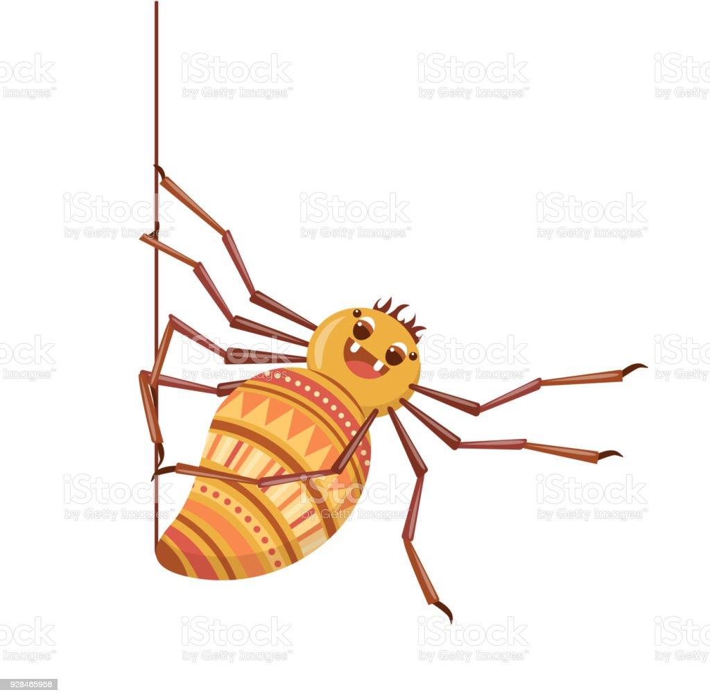 Ilustración de Araña Teje Su Tela Tarantula De La Historieta Lindo y ...