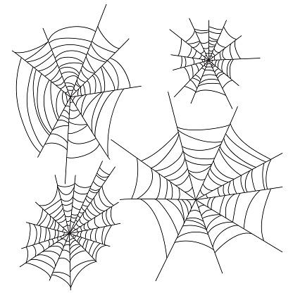 Spider web halloween vector decorations set. Cobweb party design elements.