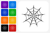 Spider web Icon Square Button Set. The icon is in black on a white square with rounded corners. The are eight alternative button options on the left in purple, blue, navy, green, orange, yellow, black and red colors. The icon is in white against these vibrant backgrounds. The illustration is flat and will work well both online and in print.