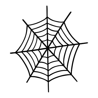 Spider web isolated on white background. Hand-drawn vector illustration in doodle style. Perfect for cards, logo, holiday designs, decorations.