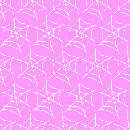 Spider web seamless pattern. Vector hand drawn illustration isolated on pink background. Halloween texture