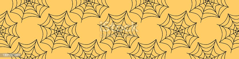 istock Spider web seamless pattern. Vector illustration isolated. Halloween texture 1331221421