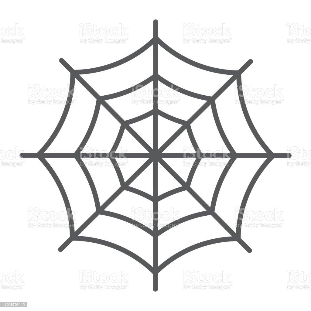 Icône De Fine Ligne Spider Web Halloween Et Décoration Signe