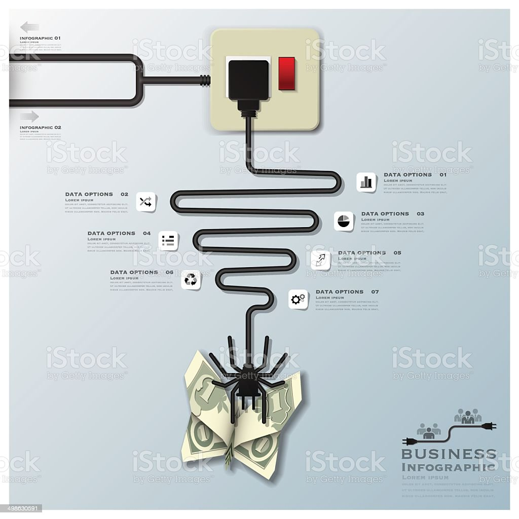Spider Web With Money Butterfly Electric Wire Line Business ...
