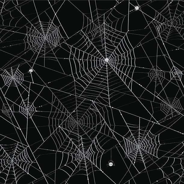 Spider Webs - Tileable Background vector art illustration