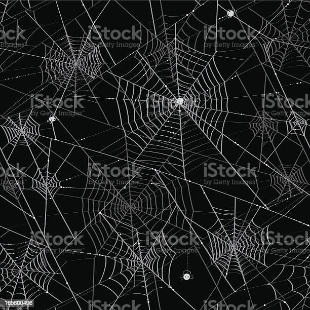 Spider Webs Tileable Background Stock Illustration - Download Image Now
