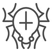 Spider with cross on back line icon, halloween concept, scary animal that weaves web sign on white background, spider with marking icon in outline style for mobile concept. Vector graphics