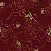 Spiders and spider web seamless pattern on dark red background.