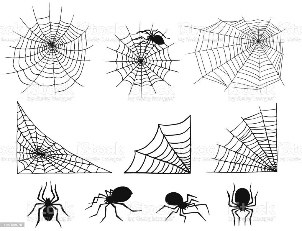 Arañas De Vectores Naturaleza De Spooky Spider Web Silueta ...