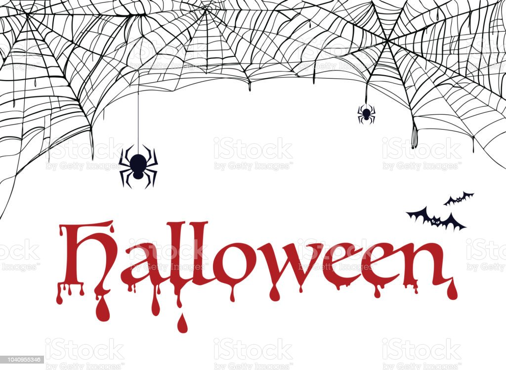 spiderweb bat and spider with word halloween decoration for party