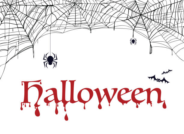 Spiderweb, bat and spider with word halloween. Decoration for party vector art illustration