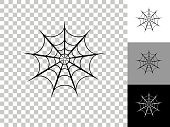 Spiderweb Icon on Checkerboard Transparent Background. This 100% royalty free vector illustration is featuring the icon on a checkerboard pattern transparent background. There are 3 additional color variations on the right..