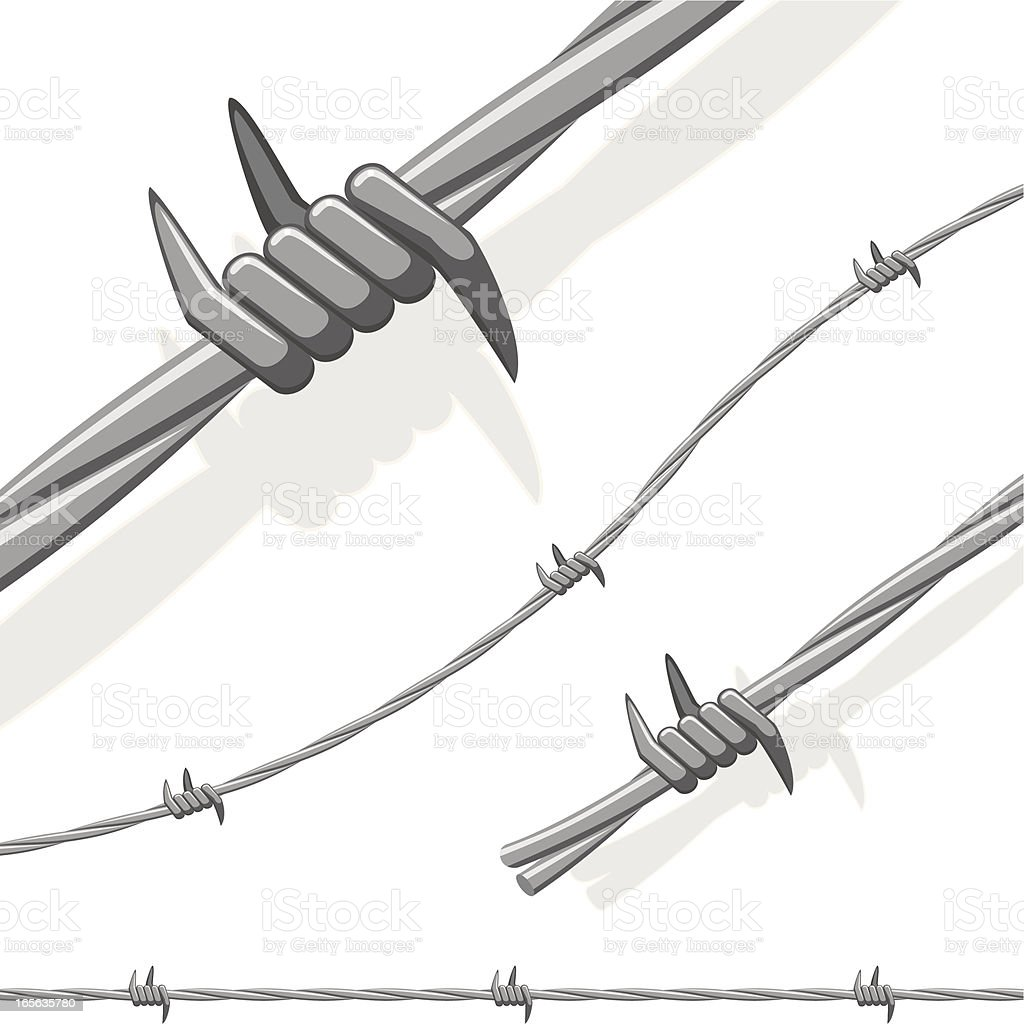 Spiked Barbed Wire royalty-free stock vector art