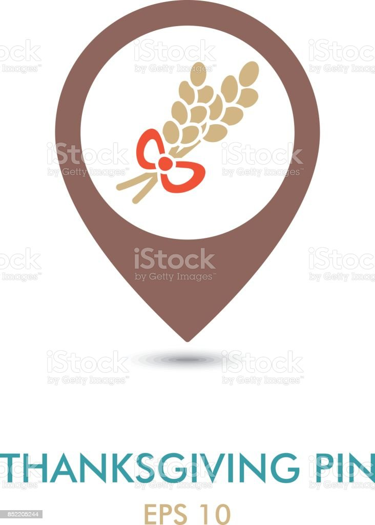 Spikelets wheat mapping pin icon. Harvest vector art illustration