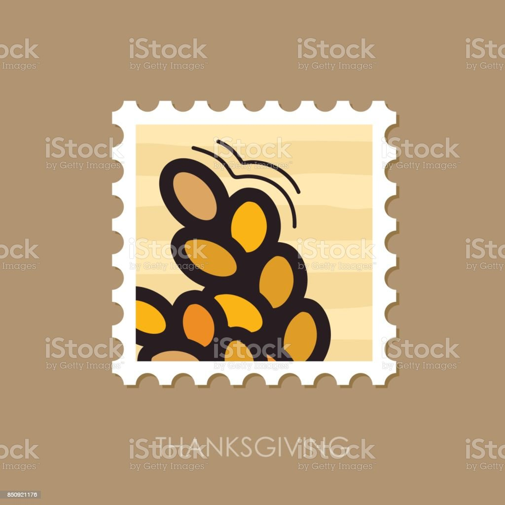 Spikelets wheat stamp. Harvest. Thanksgiving vector art illustration