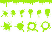 Spill green slime splash flowing splatter dripping seamless liquid cartoon design vector illustration