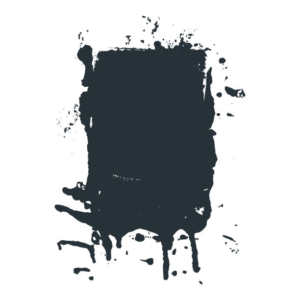 Spilled black ink or paint spot in vector grunge style vector art illustration