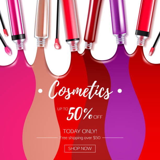 spilled colorful lip gloss background - błyszczyk stock illustrations