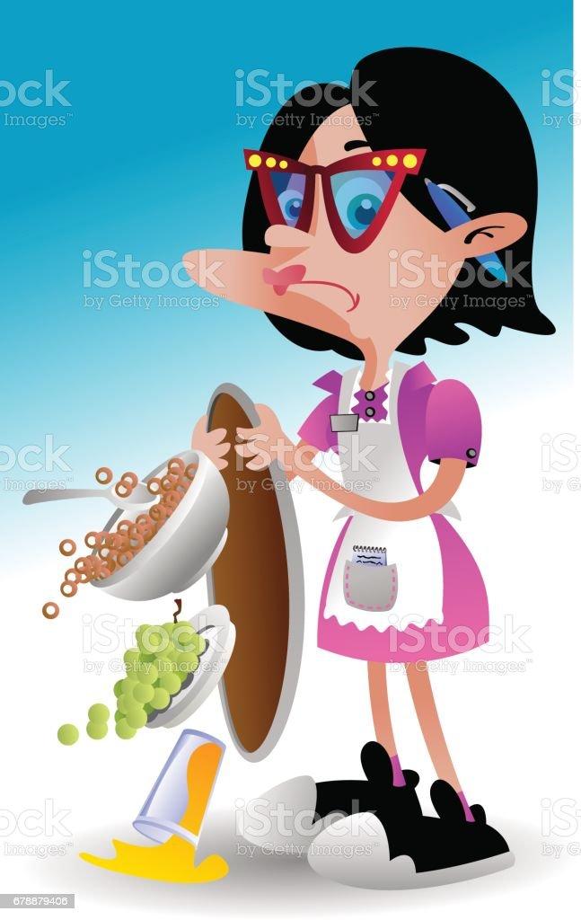 Spilling Waitress royalty-free spilling waitress stock vector art & more images of anger