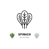 istock Spinach leaves icon Vegetables  Spice. Thin line art desig 871752824
