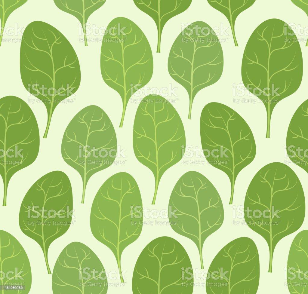Spinach leaves seamless pattern. Vector background Veggie plants vector art illustration