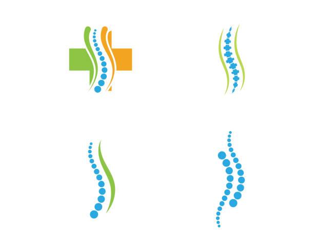 illustrations, cliparts, dessins animés et icônes de illustration vectorielle de colonne vertébrale diagnostic symbole - chiropracteur