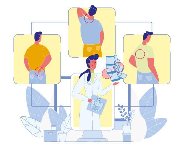 ilustrações, clipart, desenhos animados e ícones de diagnóstico das doenças da espinha e vetor do tratamento - ortopedia