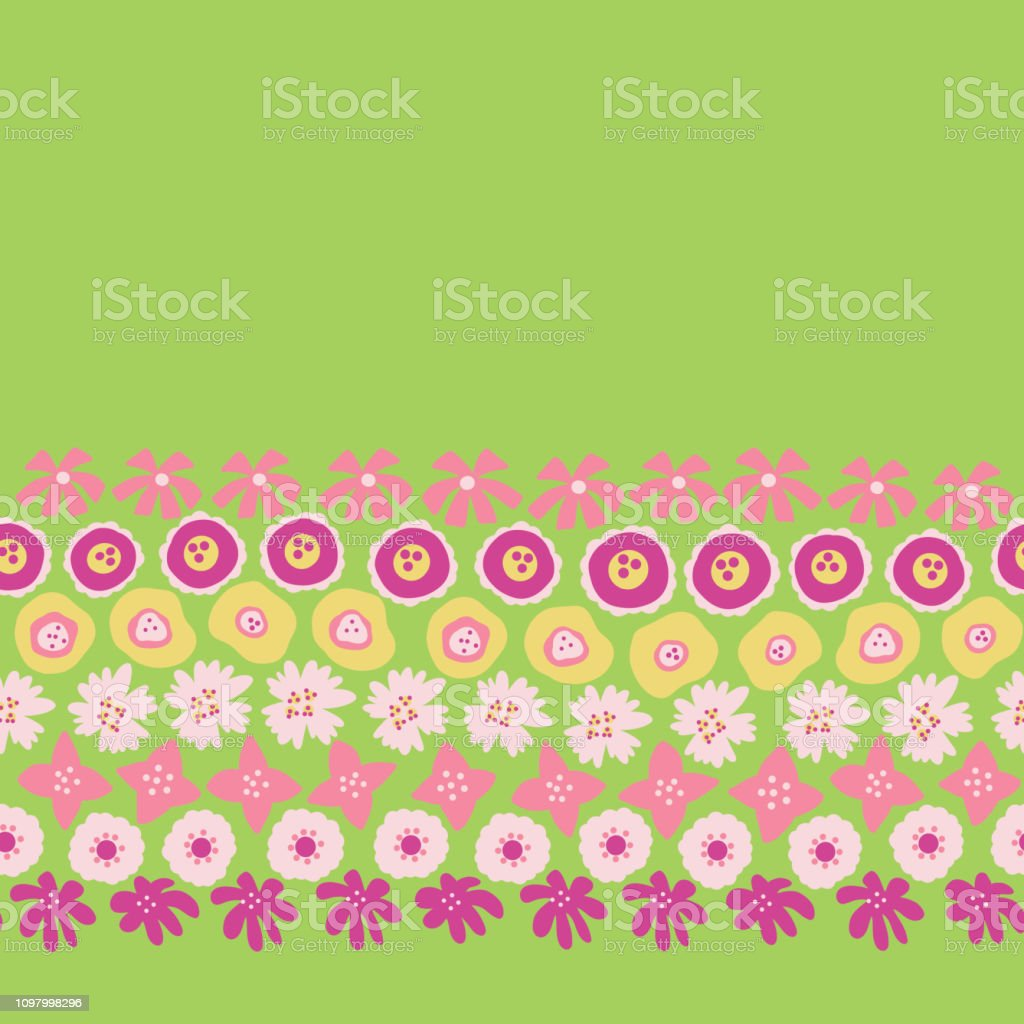 Sping Flowers Seamless Vector Repeat Border Hand Drawn Floral