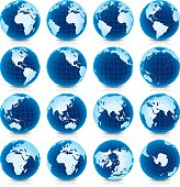 Earth Globe Icon Set in 16 Spinning Intervals.
