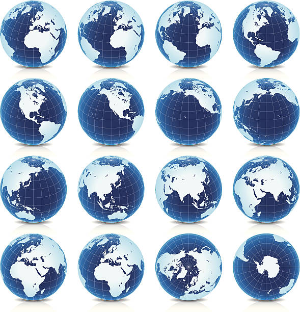 spinning earth globe icon set, latitude 30° n view - antarctica maps stock illustrations, clip art, cartoons, & icons