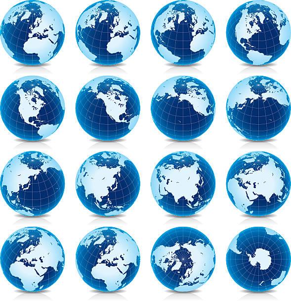 地球地球の「ラティチュード 45°n 眺め - 南極地図点のイラスト素材/クリップアート素材/マンガ素材/アイコン素材
