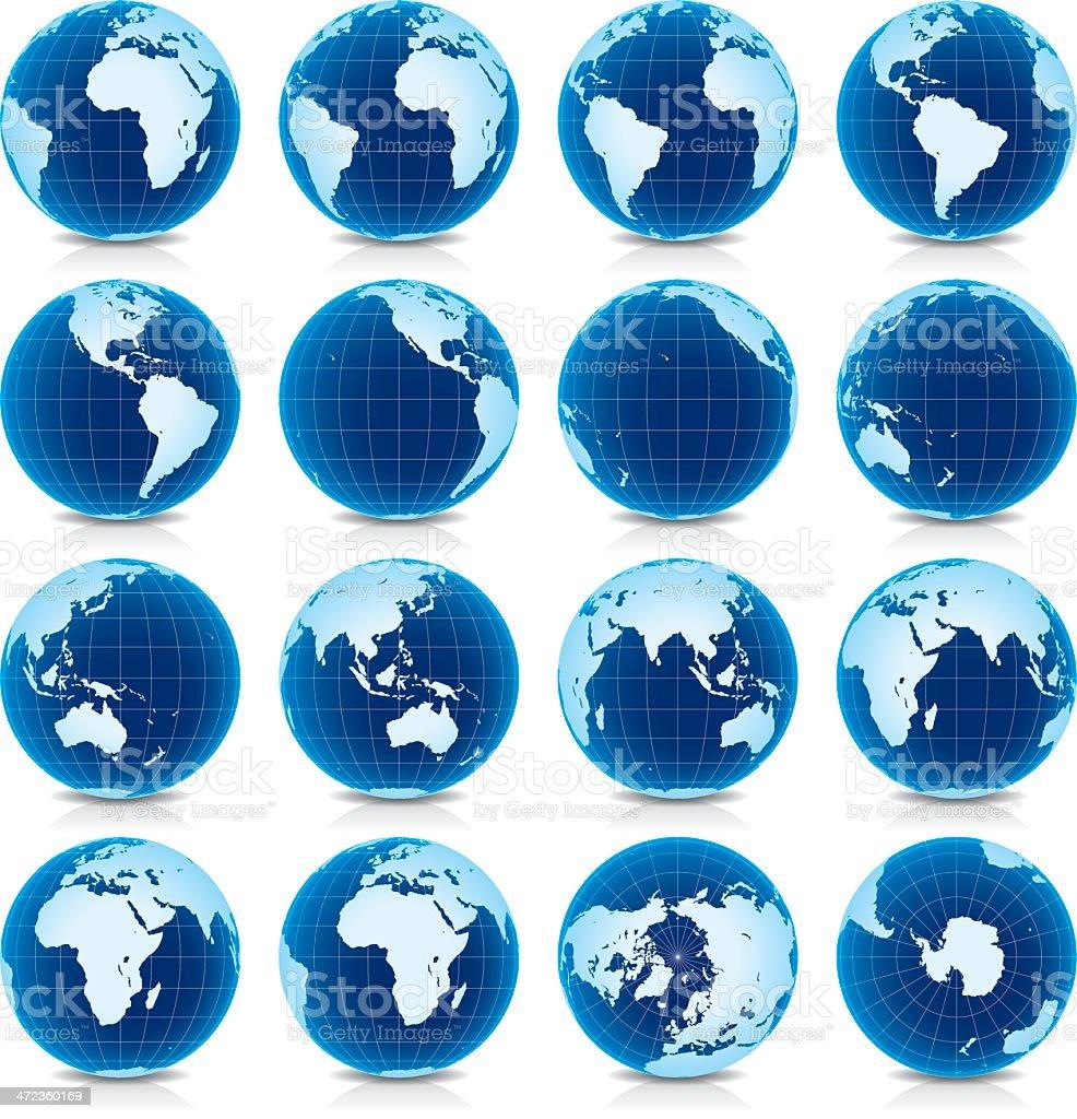 Earth Globe de amplitud cero vista - ilustración de arte vectorial