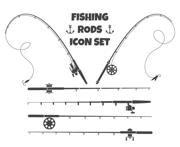 Spinning fishing rod Spinning fishing rod. Fish-rod and spoon-bait tools set isolated on white background with tackle and hook gearing reel instruments fishing reel stock illustrations