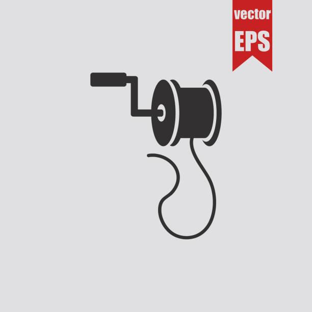 Spinning reel icon.Vector illustration. Spinning reel icon.Vector illustration. fishing reel stock illustrations
